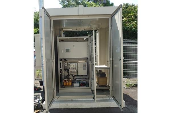柳井第一配水池マイクロ水力発電所のようす システム制御盤
