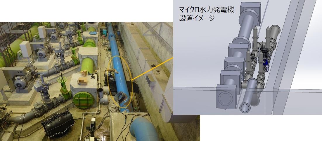 江南市下般若配水場マイクロ水力発電所の工事を開始